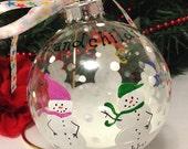 Grandchildren Grandkids Family Snowman Snowmen Personalized Custom Christmas Ornament Hand Painted