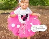 Minnie Mouse Tutu, Baby Tutu and puff headband set, Photo Prop, Childrens Toddler Infant Tutu,Halloween Costume, Birthday Minnie