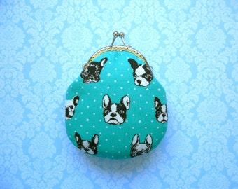 French Bulldog Tall Coin Purse - Handmade gift, Mint, Metal frame clutch purse, Japanese kawaii fabric