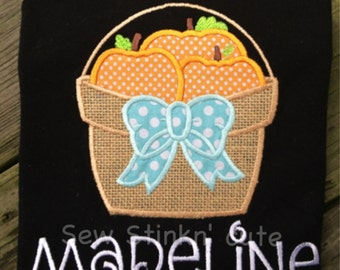 Personalized Appliqued Fall Pumpkins in a Basket