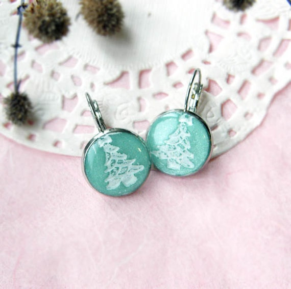 pastel earrings with Christmas tree ornament - pastel earring -  new years earring