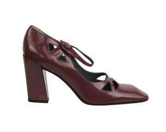 MIU MIU  Cut Out Patent Leather Vintage Shoes