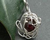 Garnet Nest Pendant in Sterling Silver