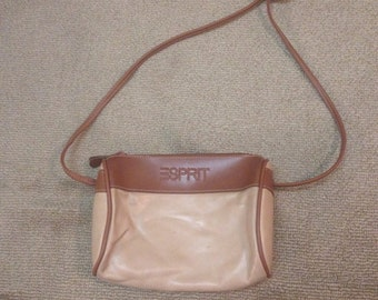 Vintage camel colored esprit barrel purse with zipper top and shoulder strap