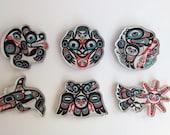 Tlingit Northwest Native American Set of 6 Cutout Acrylic Magnets designed by Israel Shotridge