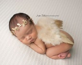 Soft Nude Colored Feathered Angel Wings and Matching Gold Leaf Rosette Jeweled Halo Set - Perfect Newborn Photo Prop