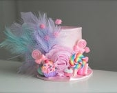 Pink Candy Party - Candyland Inspired with Cupcakes Gumdrop and Lollipops BIRTHDAY Mini Top Hat Headband (or fascinator) Perfect Photo Prop