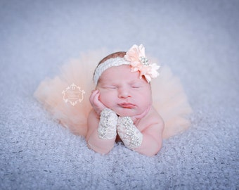 Couture Peach and Ivory Flower Headband paired with Pearl and Rhinestone Lace Wristlet (SET) - Stunning Newborn Photo Prop