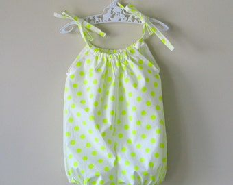 Baby girl romper yellow polka dot bubble romper playsuit