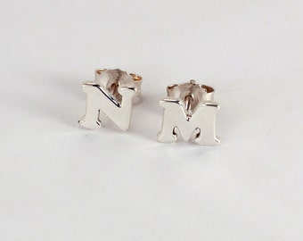 Pair of Initial Earrings, Sterling Silver, Made to Order