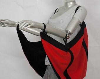 Long Red/Black Bat Wings