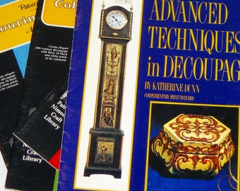 4 vintage crafting booklets for decoupage 70s era instructions designs and projects