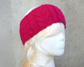 Knitted Ear Warmer Headband, Cables, Bright Magenta Pink, Merino Wool, Women & Teen Girls