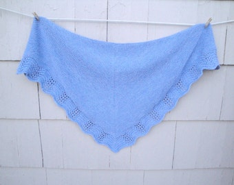 Lace Edged Shawl, Large Cozy Shawl Wrap, Prayer & Comfort, Hand Knit, Blue Heather