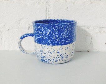 Speckled Mug Blue and White Porcelain, Coffee Mug Made to Order