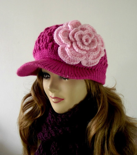 KNITTING HAT PATTERN Newsboy Knitted Hat with by ...