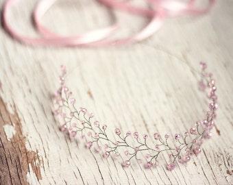 11_Pink crown, Crystal crown, Silver tiara, Twig tiara, Vine tiara, Hair accessories, Crystals tiara, Wedding headbands, Crowns and tiaras