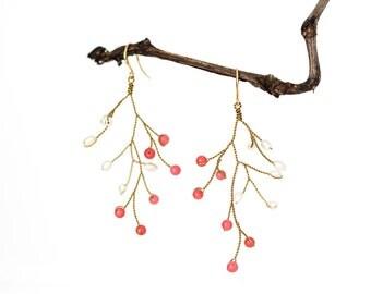 632_Coral earrings, Red earrings, Gold earrings, Crystal earrings, Twig earrings, Tree branch earrings, Wedding earrings, Handmade earrings.