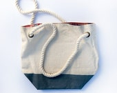 Canvas Tote Bag with Blue Painted Bottom and Plaid Lining