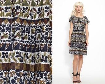 Vintage 50s 60s Print Day Dress // Cotton // Stripes Leaves