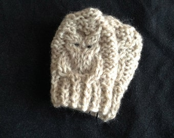 Baby Mitten Knitting Pattern, Owl, 0-6 months, PDF, Instant download