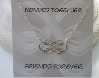 Infinity Necklace, Intertwined Triple Infinity, Friends Bonded Together, Gifts for Best Friends, Silver Necklace, Maid of Honor, Christmas