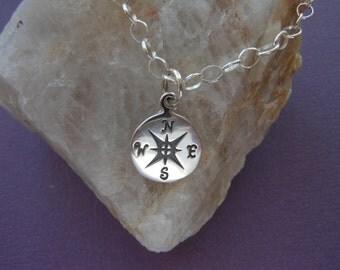 Compass Bracelet, Adjustable Bracelet, Gifts for Best Friends, New Job, Sterling Silver Bracelet, Sisters, Charm Bracelet, Graduation Gift,