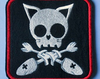 Large 5 1/2 Inch Square Embroidered Skully Kitty Applique Patch, Skull and Crossbones, Punk, Gothic, Biker Style,  Cat and Crossed Fishbones
