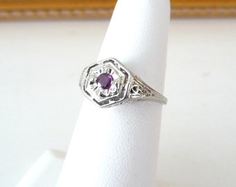 Art Deco Natural Ruby Ring 14k White Gold Filigree Vintage Size 6.25 Engagement Ring from TreasuresOfGrace