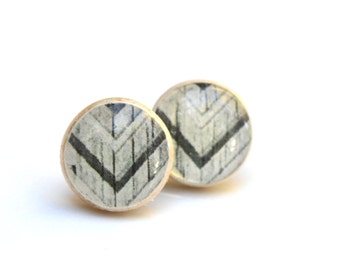 Black and white tribal studs wood earrings wood studs chevron studs post earrings eco friendly jewelry earrings jewelry for her