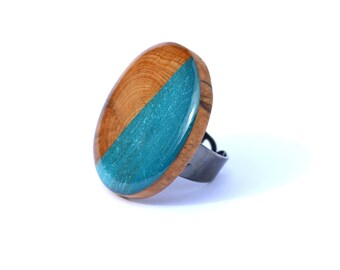 Natural Wood and Blue Topaz Statement Ring. Wood Statement ring, Big ring, Adjustable Ring. Wooden Ring by Starlight Woods
