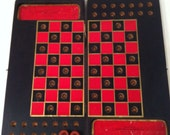 1910 small wooden traveling checker board peg game
