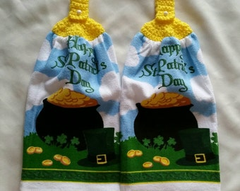 St Patrick's Day crochet hanging hand towel sets.