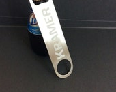 Personalized Bartenders Bottle Opener / Stainless Steel Bottle Openers / Beer Bottle Opener / Popper / Speed Opener / Wedding Party Gift