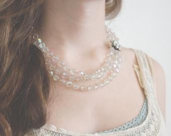 50s Aurora Choker - Multistrand Crystal Beaded Necklace. Rhinestone clasp.