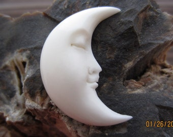 Half moon, Crescent moon cabochon, Buffalo bone carving Embellishment, jewelry making supplies  S4676
