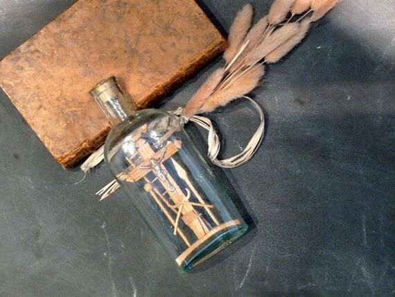 Antique French Bottle .Religious . Ex voto . Bottle Passion .Collectibles . Devotion. cross.Old bottle