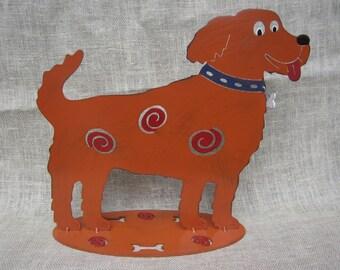 Gary The Golden whimsical dog metal art sculpture