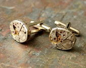 Steampunk Cufflinks, Vintage Recycled Watch Cufflinks, Steampunk Accessories, Steampunk Wedding Accessories