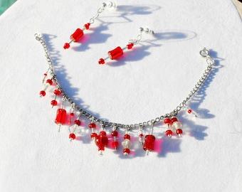 Red crystal charm bracelet set, silver charm bracelet, red charms handmade, holiday bracelet set, OOAK bracelet,, gift set, Item 2014-513