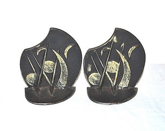 Very Art Deco and or Arts and Crafts Bookends Natural or Geometric or Musical Shapes 1930s Cast Iron