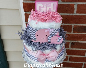 """Pink and grey chevron elephant """"it's a girl"""" 2 tier diaper cake, baby shower present, decoration, centerpiece"""