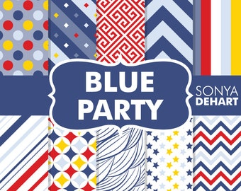 40% OFF SALE Blue Party Birthday Digital Paper Pack Boy Patterns