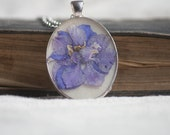 real pressed flower necklace white cream larkspur dried flower pendant in resin. wedding. bride.