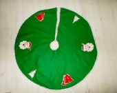 Vintage Felt Christmas Tree Skirt 1960's Hand Sewn Applique Sequins