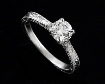 Vintage Reproduction Solitaire Petite Delicate Engagegment  Ring Hand Engraved Brilliant Diamond GIA Certified