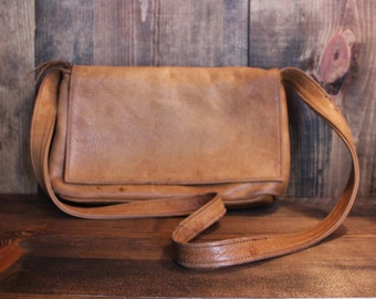 Leather Purse Sven Rustic Hippie Satchel Country Western Bag Womens Vintage 1980s 80s (L)