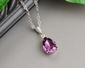 Purple Necklace - Swarovski Crystal Teardrop Pendant Necklace - Silver Amethyst Bridesmaid Necklace - Wedding Jewelry - Bridesmaid Jewelry