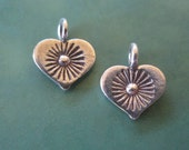 Tribal Sun Heart Charm Hill Tribe Fine Silver Sterling 12 x 10 mm 2 charms
