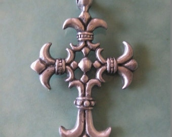 Fancy Cross Pendant  2 sided Large 56 MM Pewter Scalloped 1 Cross